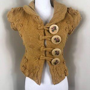 Anthropologie Leifsdottir Yellow Crochet Top
